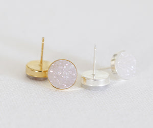 white druzy stud earrings