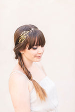 gold leaf bridal crown