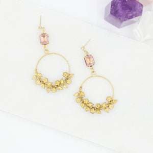 Amethyst and Floral Cluster Vine Statement Earrings
