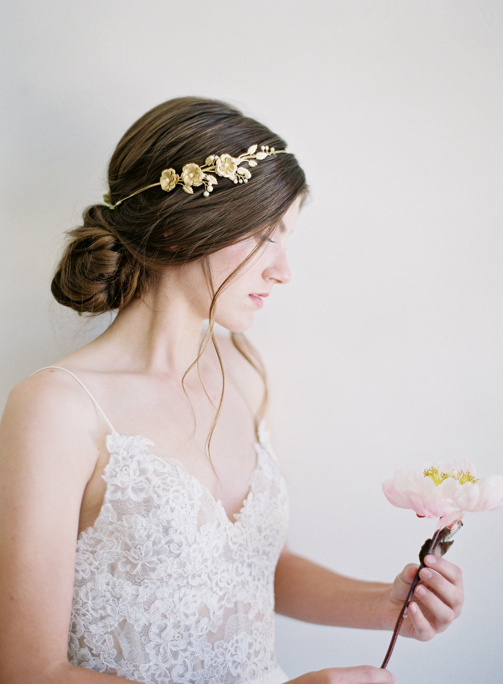 rose and pearl bridal headband