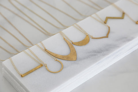 Geometric Hammered Brass Necklaces