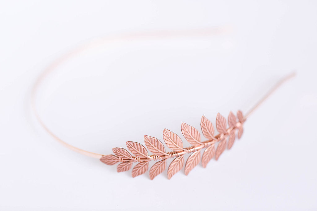 rose gold laurel leaf headband
