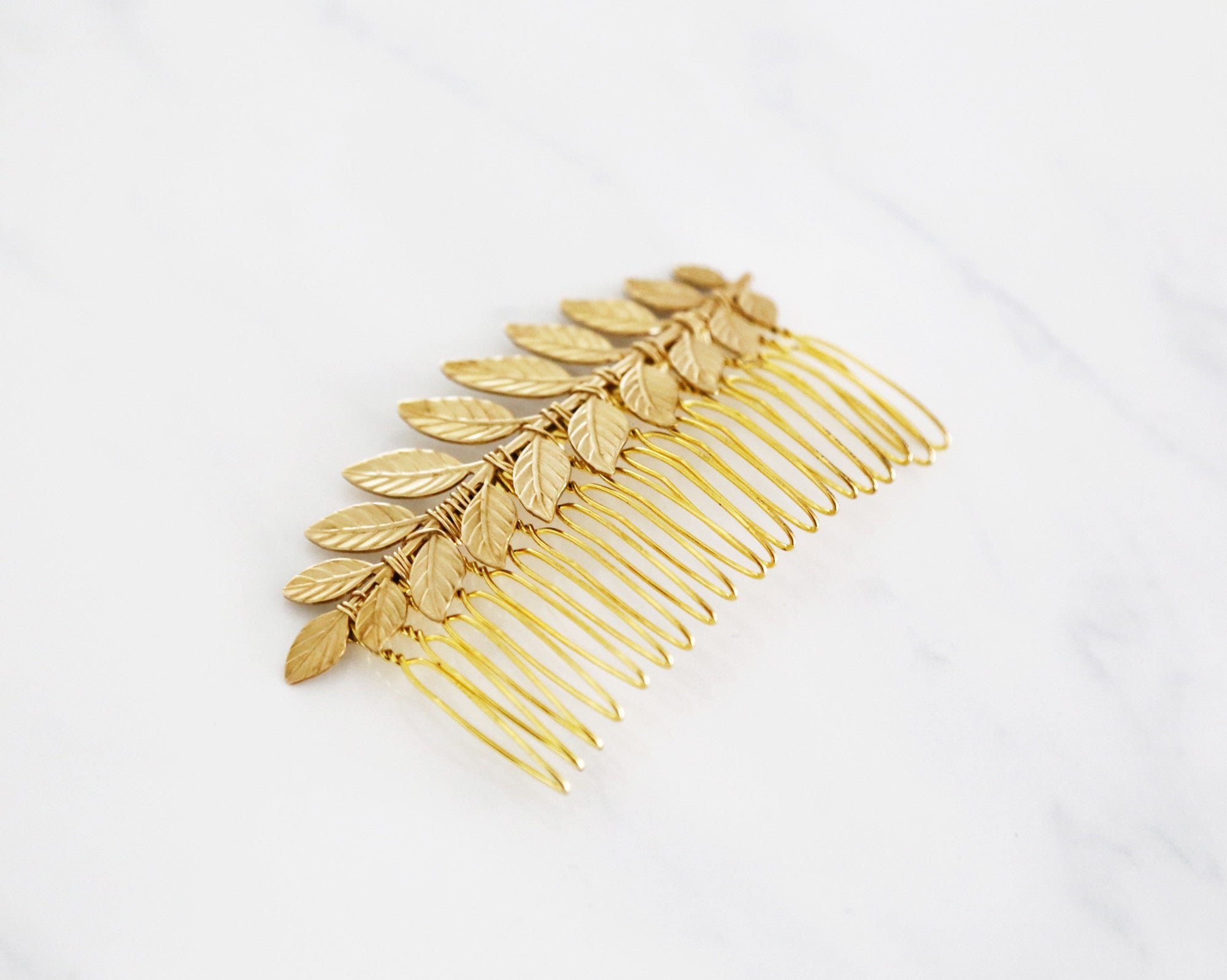 bridal gold leaf hair comb