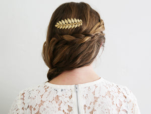 gold laurel leaf hair comb
