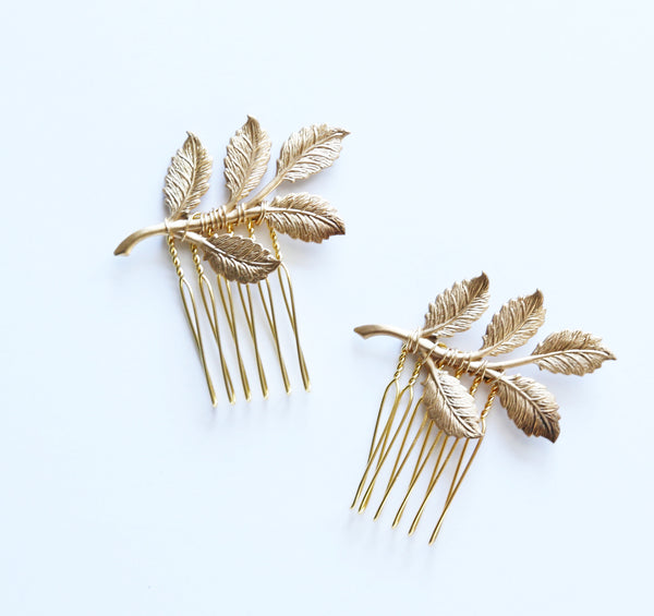 Golden Leaves Mini Combs - Bridal or Special Occasion Boho Comb, crown, halo, hair piece
