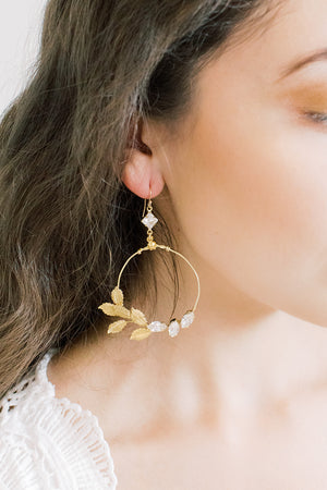 Golden Leaf Cluster Statement Earrings