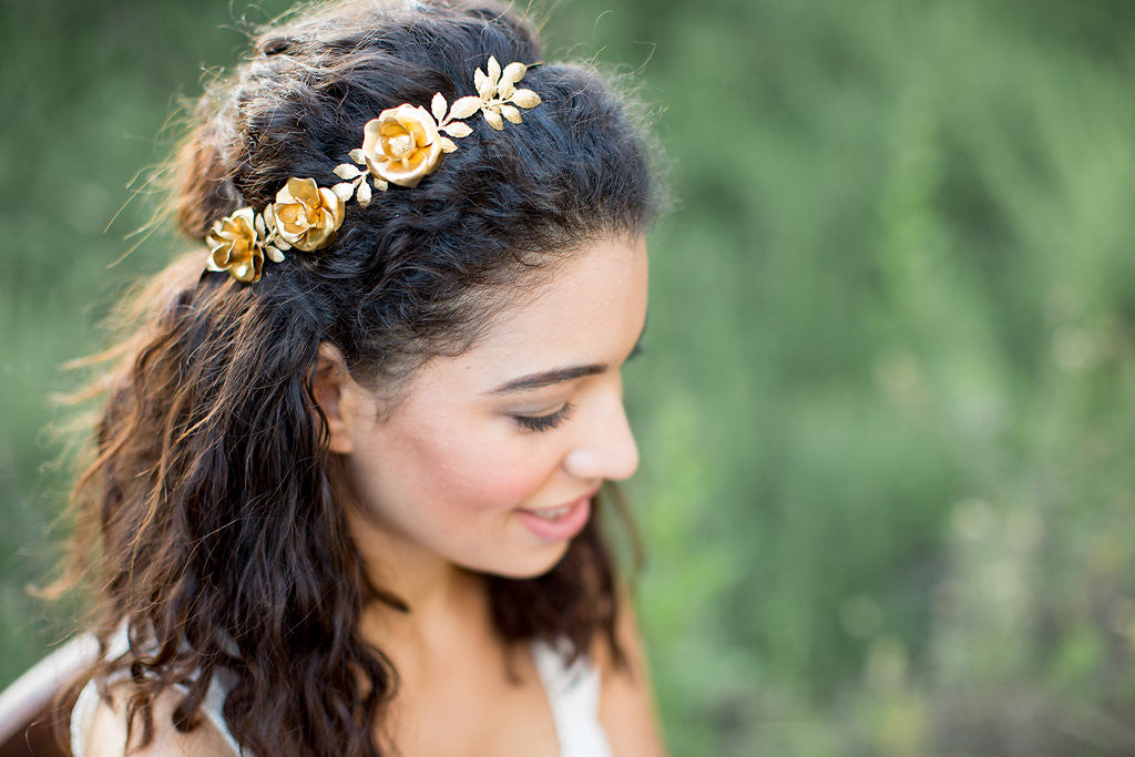 gold flower crown wedding