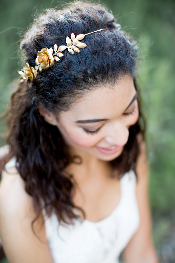 Golden Rose and Pearl Crown - Tie Headband, Crown