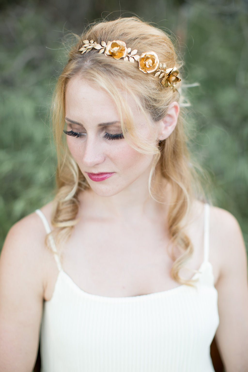 rose flower bridal crown
