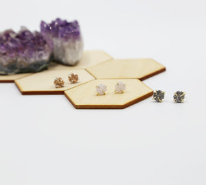 Hexagon Natural Druzy Stud Earrings