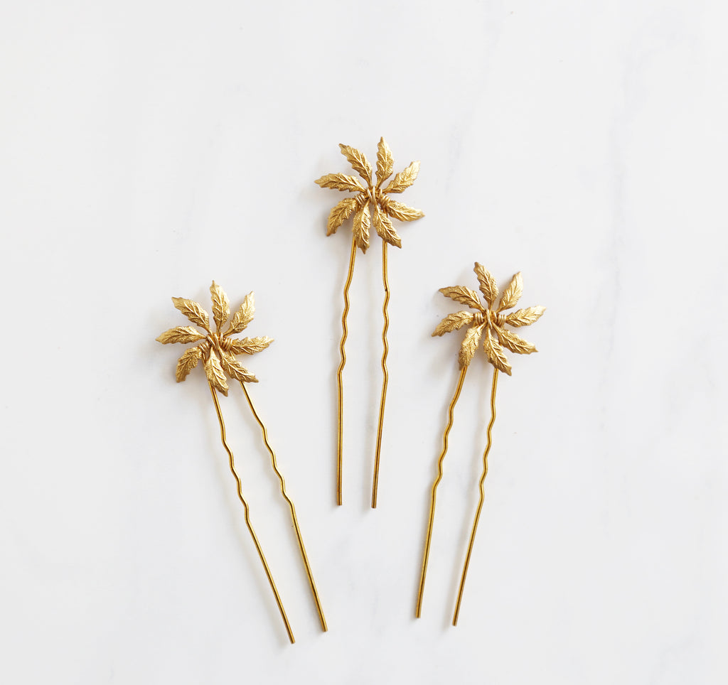 bridal hair pins gold
