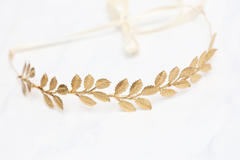 Large Leaves Golden Crown - Tie Headband, Crown, Bridal, Special Occasion