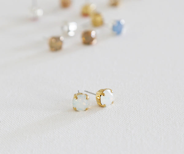 """Classic Size"" Sparkling Swarovski Crystal Studs - Gold, Rose Gold, or Silver and 12 color Choices"