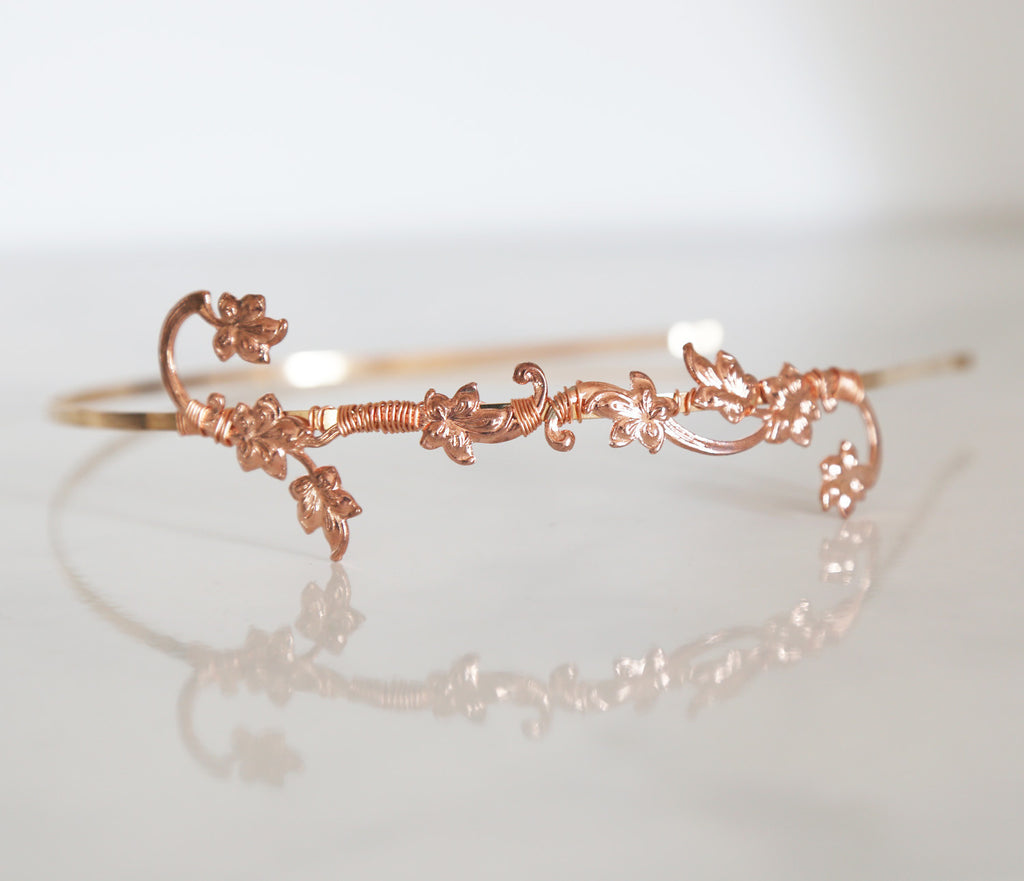 rose gold flower headband
