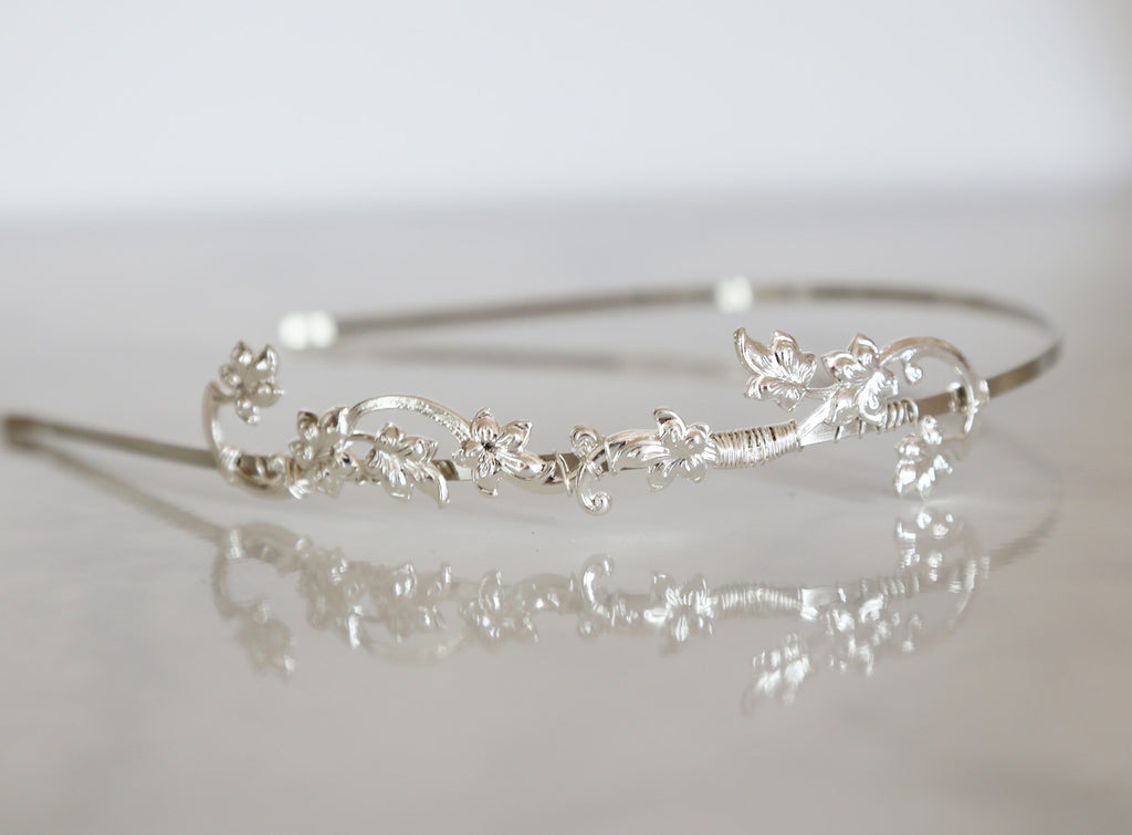 silver bridal headband crown