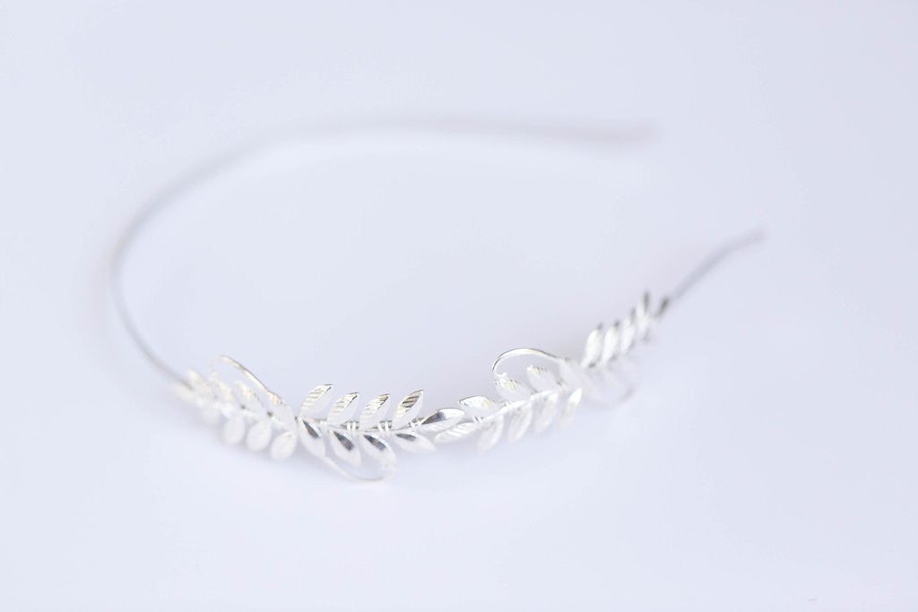laurel leaf silver headband