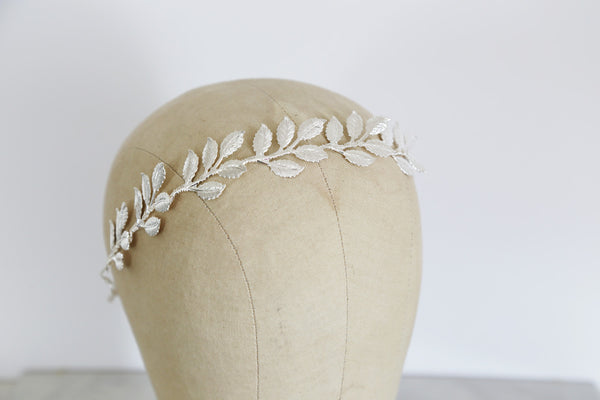 Large Leaves Silver Crown - Tie Headband, Crown, Bridal, Special Occasion