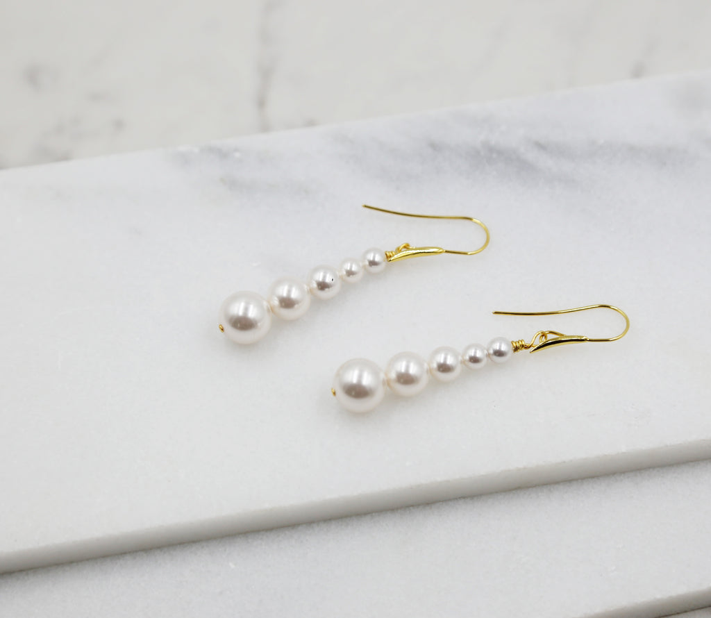Long Pearl Gold Earrings, dangle, stick, swarovski pearls, bridal, wedding, beaded earrings, classic, big hoop earrings, white pearls