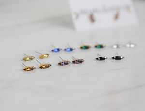 navette swarovki stud earrings