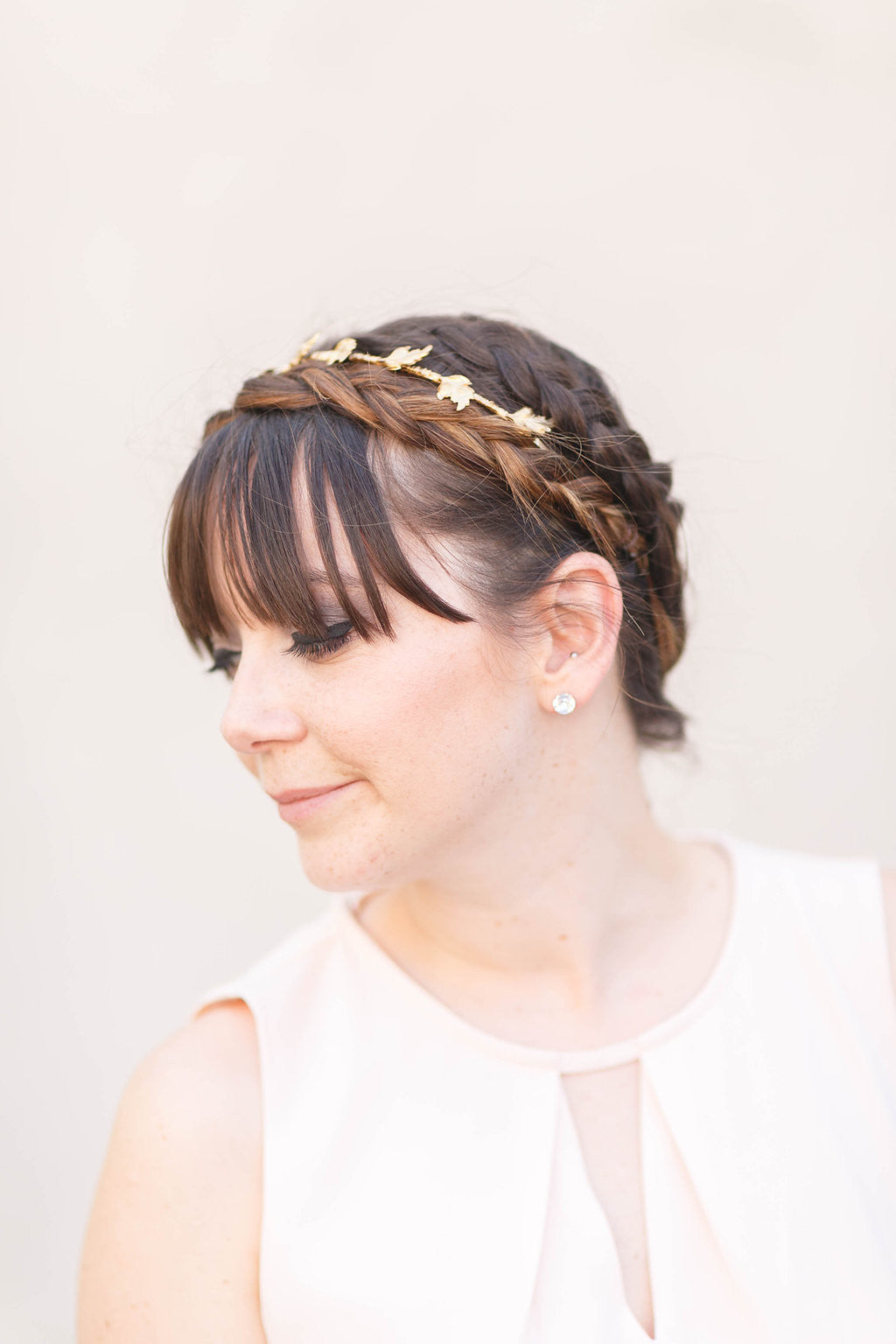 bridal gold leaf crown headband