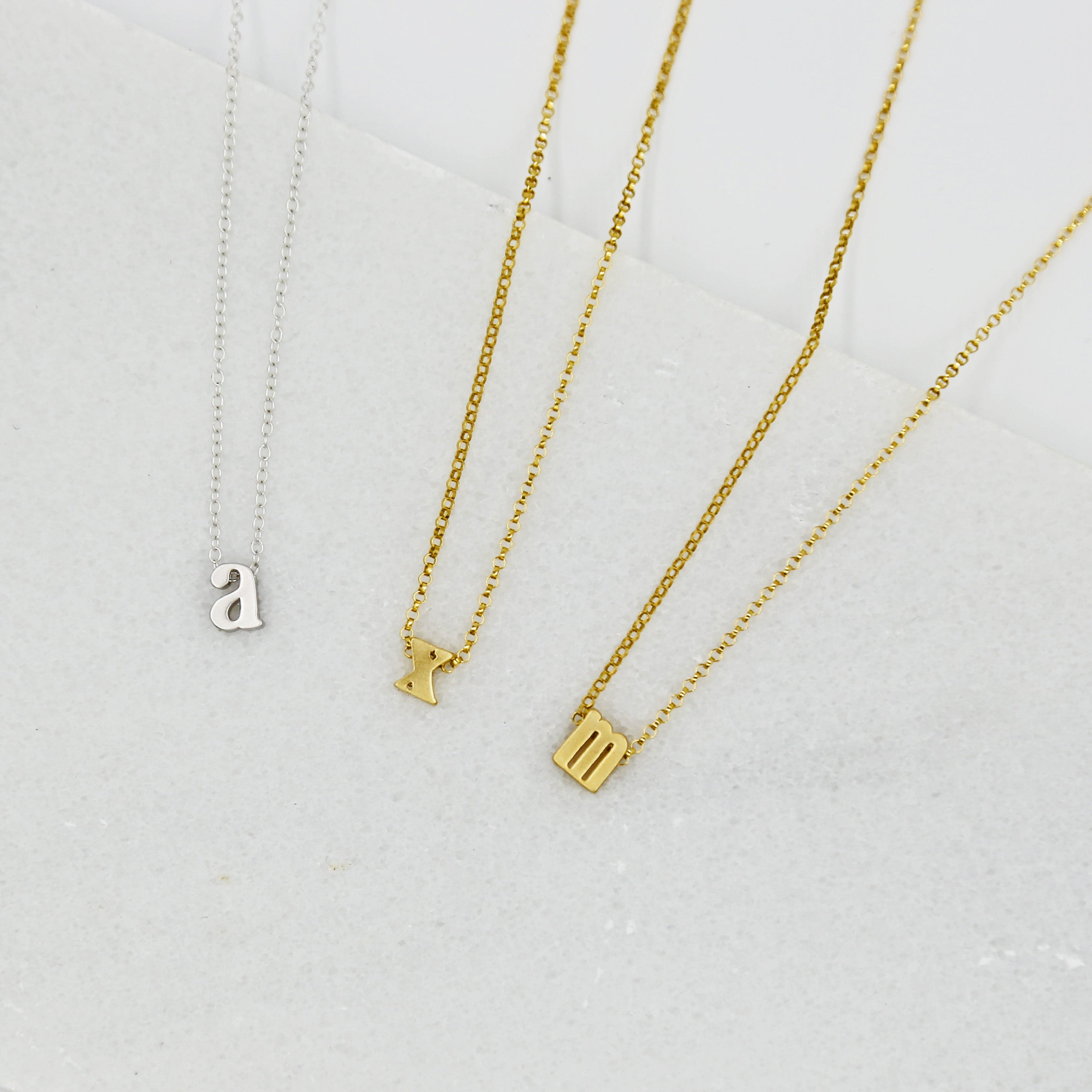 Monogrammed Typewriter Initial Necklace - Sterling Silver / One Letter
