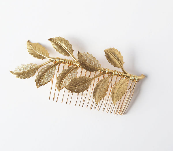 Oversized Leaf Comb - Bridal or Special Occasion Boho Comb, crown, halo, hair piece