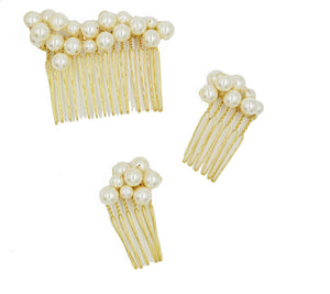 Cluster Swarovski Pearl Comb Set - Set of Three Combs