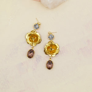 Rosebud Swarovski Drop Statement Earrings