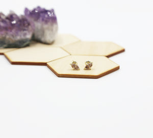 Navette Marquis Natural Druzy Stud Earrings
