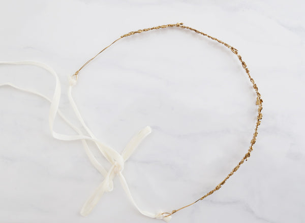 The Rose Vine - Simple Brass Floral Crown - Gold, Rose Gold, or Silver