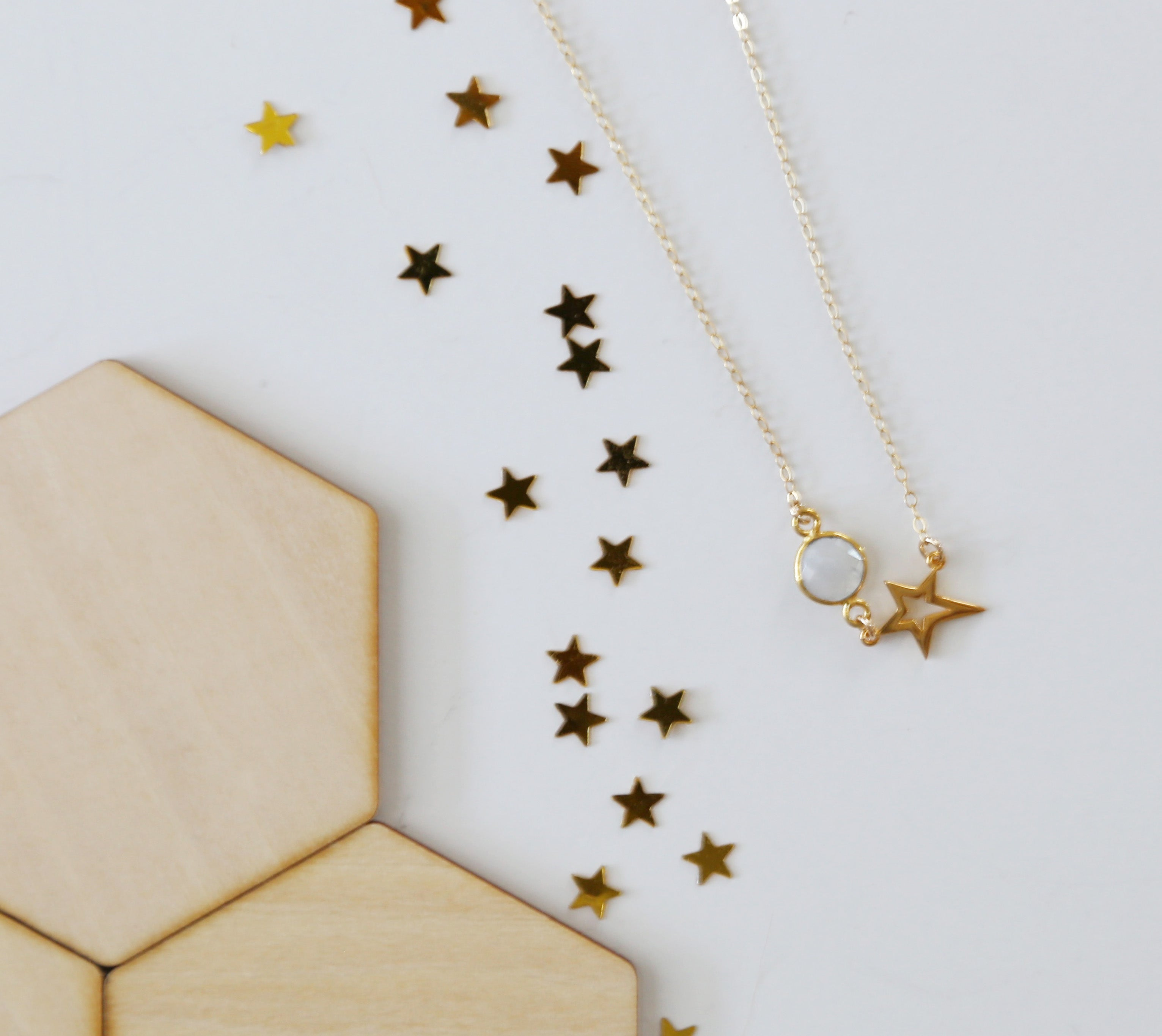 gold star moonstone necklace