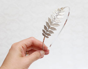 silver laurel leaf headband
