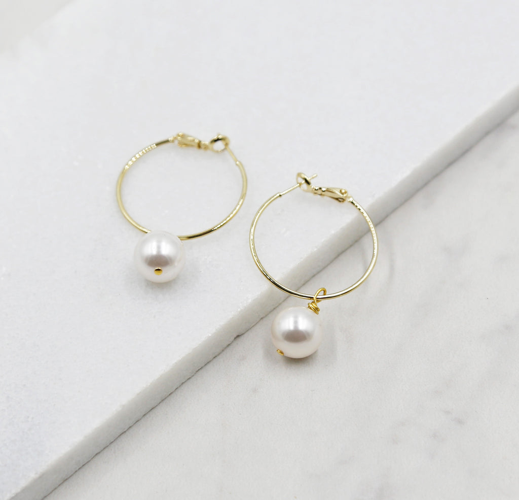 Small Pearl Gold Hoop Earrings, dangle, hoops, swarovski pearls, bridal, wedding, beaded earrings, classic, big hoop earrings, white pearls
