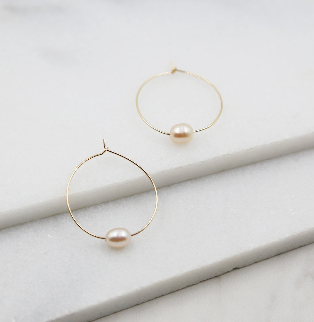 Small Pink Pearl and Gold Hoop Earrings, dangle, hoops, real pearls, bridal, wedding, beaded, classic, big hoop earrings, pastel, pink