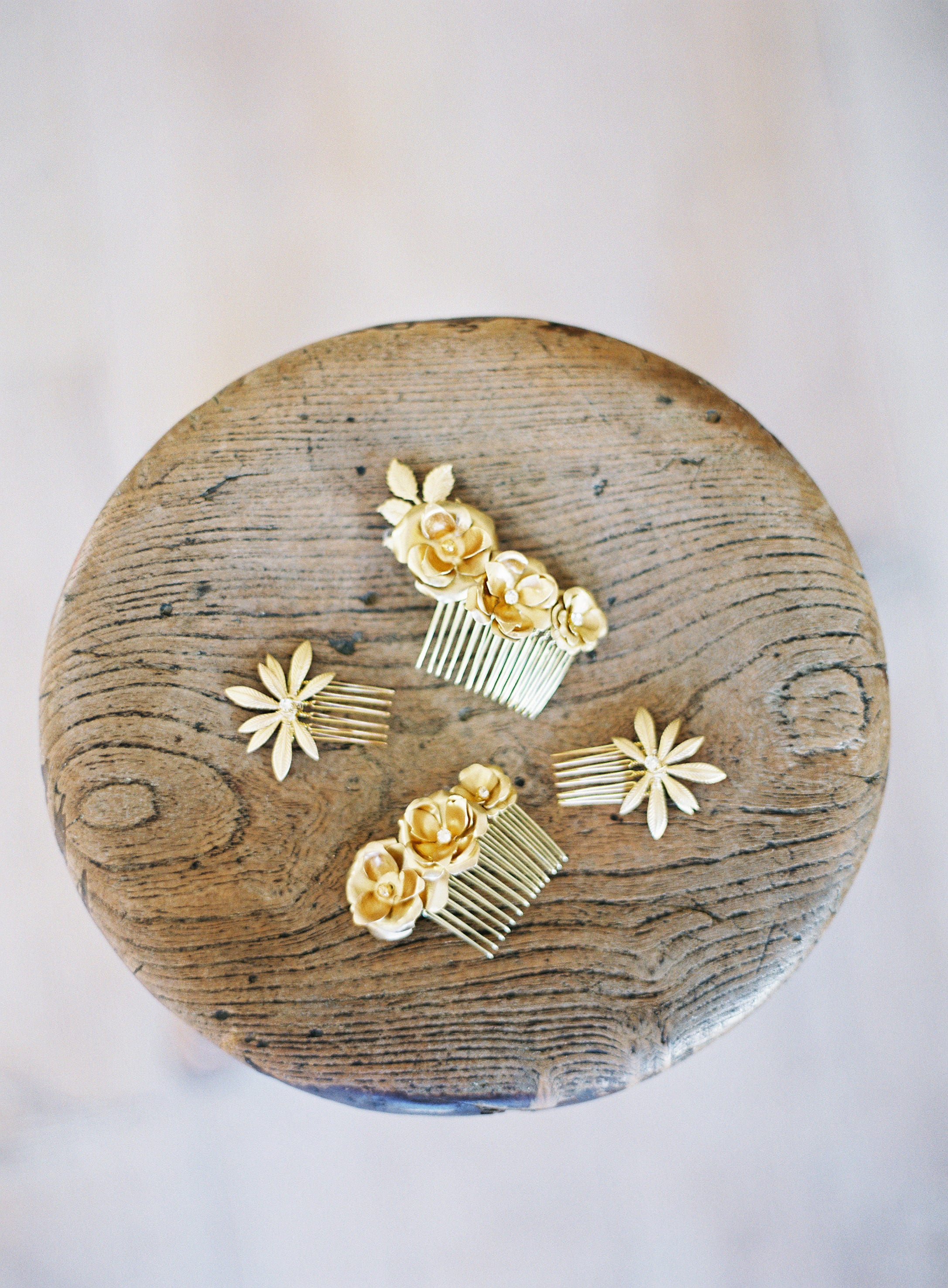 gold hair combs, wedding, bridal
