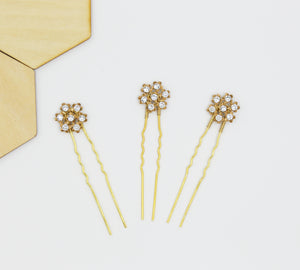 Cluster Flower Swarovski Hairpins - Set of Three