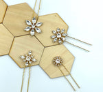 Sparkling Floral Swarovski Hairpins - Set of Four