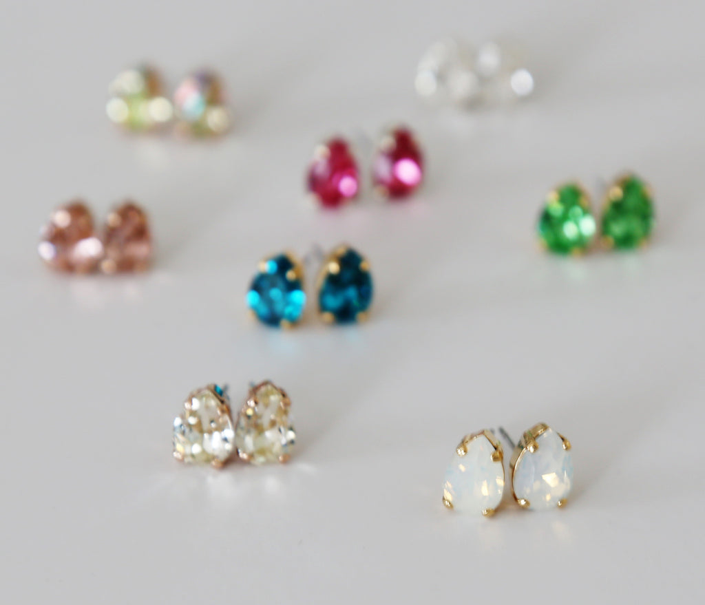 Teardrop Sparkling Swarovski Crystal Studs - Gold, Rose Gold, or Silver and 8 color Choices