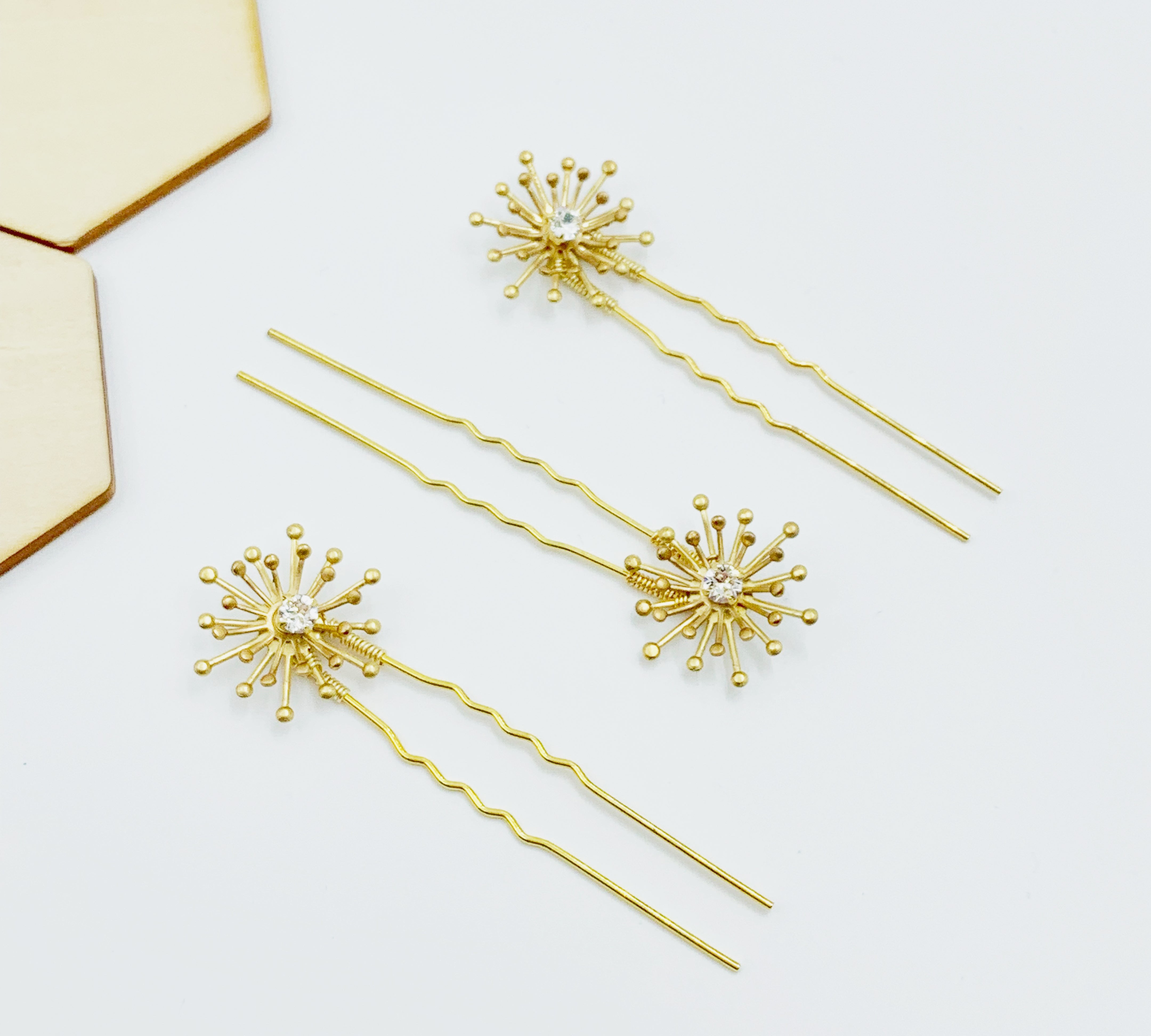 Sunburst Swarovski Hairpins - Set of Three