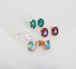 baguette swarovski crystal earrings