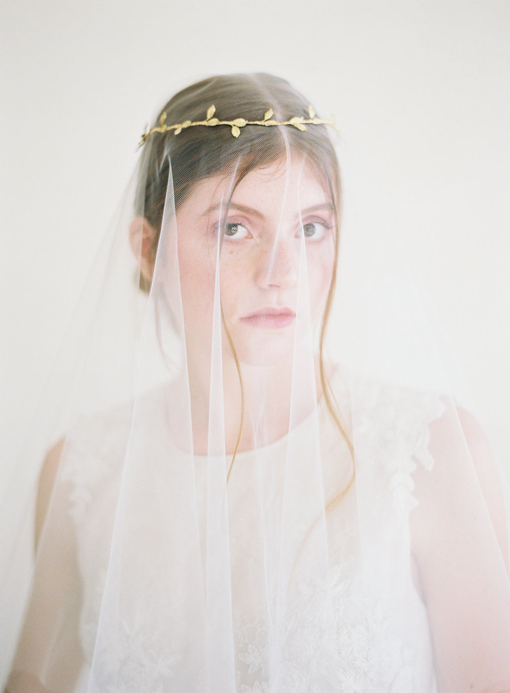tiny gold leaf bridal crown