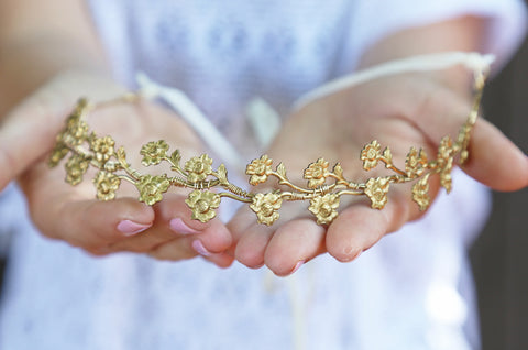 Tiny Golden Rose Vine Crown - Golden Brass Flower Crown