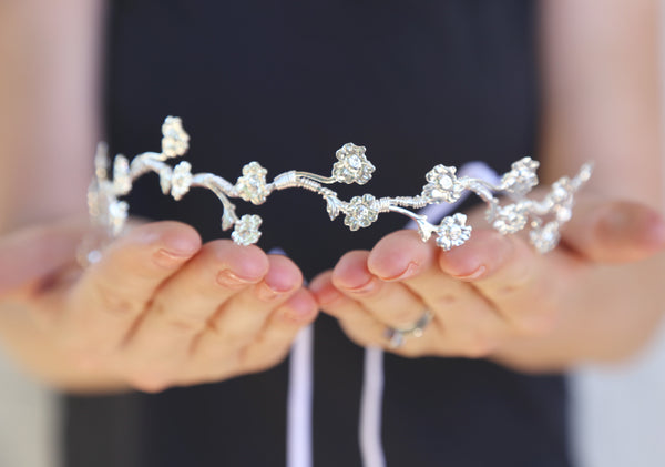 Tiny Silver Rose Vine Crown - Silver Flower Crown