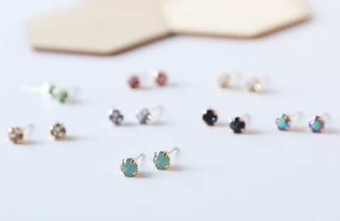 Tiny Square Swarovski Crystal Studs
