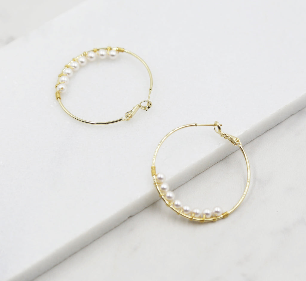 Tiny Pearl Hoop Earrings, gold hoops, swarovski pearls, bridal earrings, wedding, beaded earrings, classic, big hoop earrings, white pearls