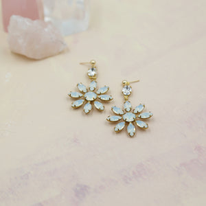 White Opal Swarovski Flower Earrings