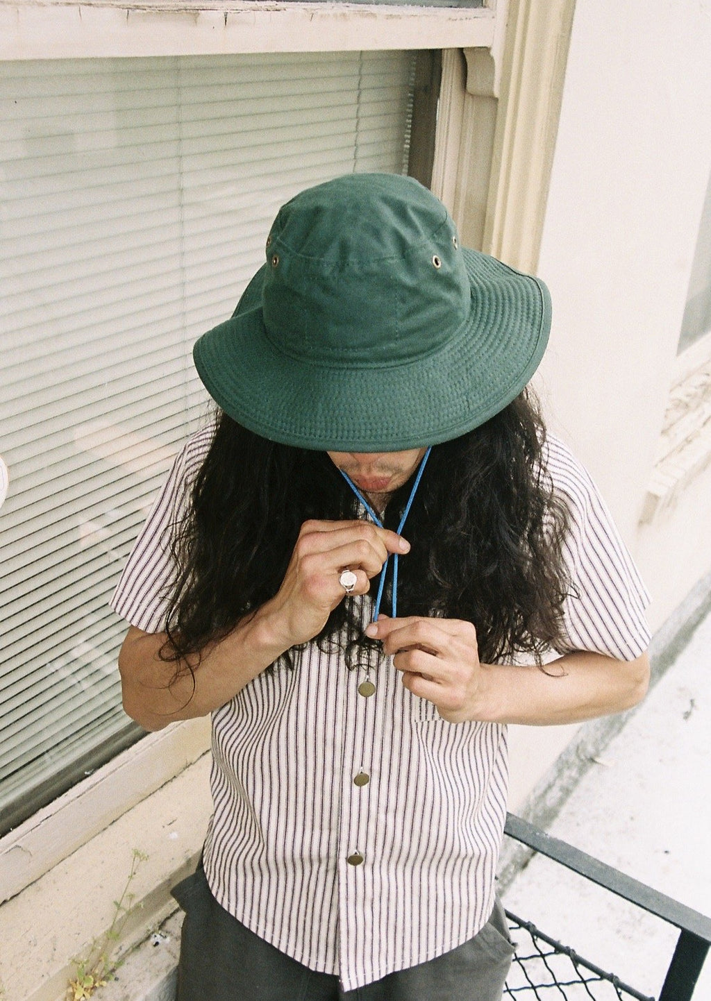 Forest Green Oilcloth Bucket Hat
