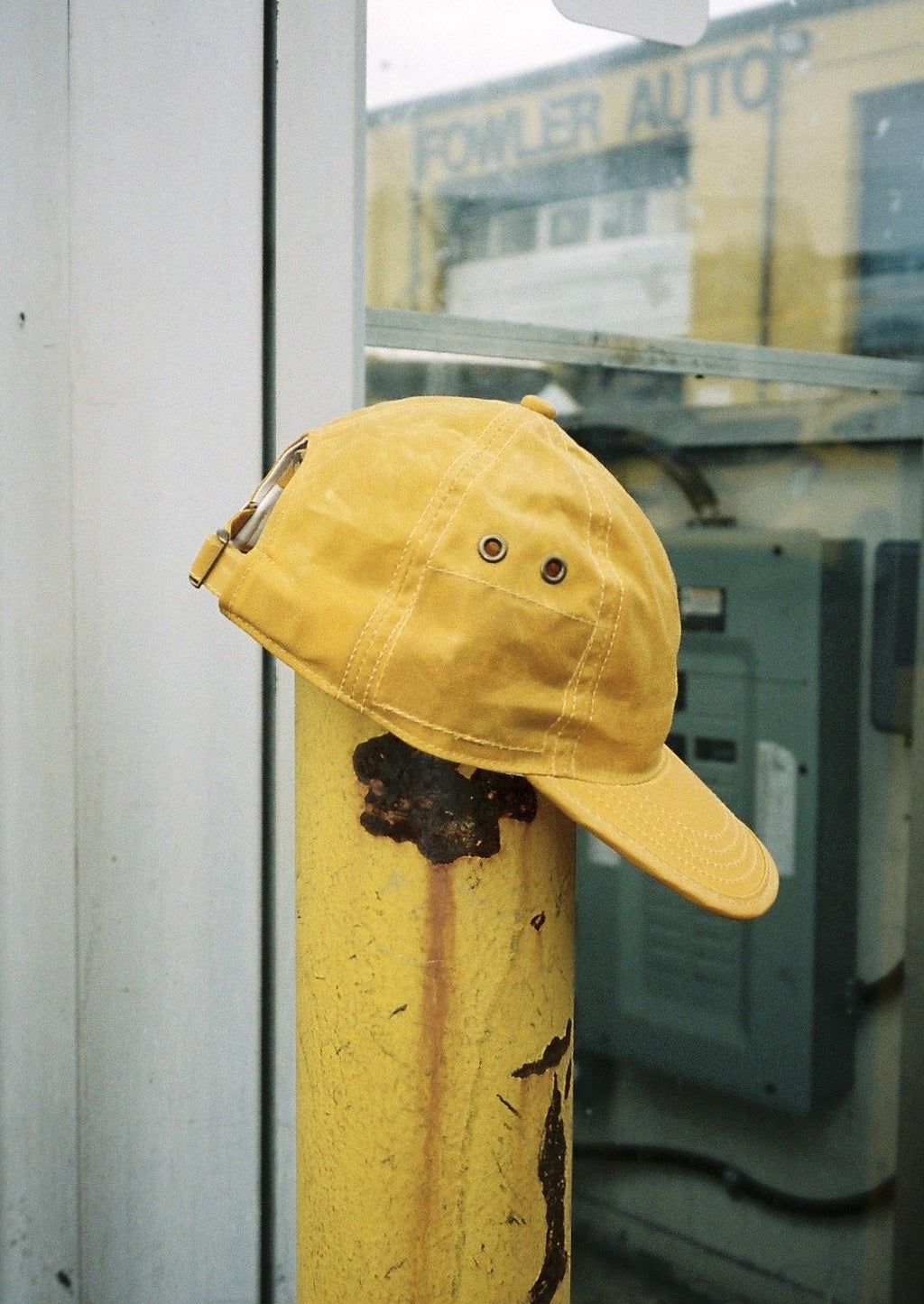 Mustard Yellow Waxed Cotton 6 Panel Hat