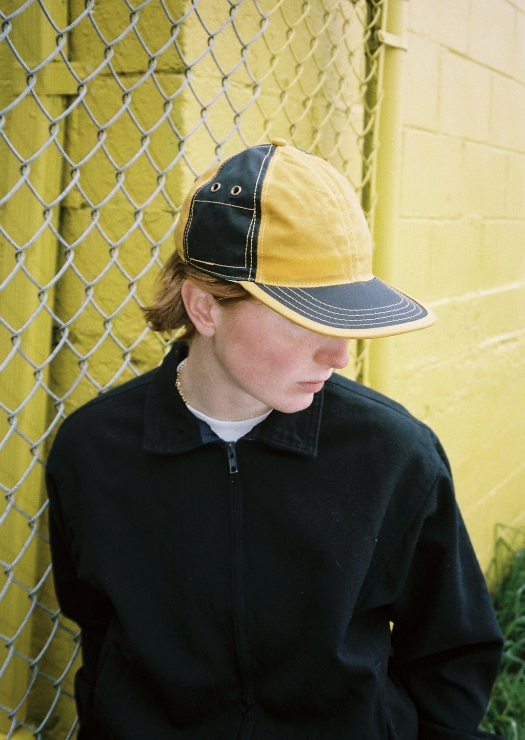 Mustard Yellow & Navy Waxed Cotton 6 Panel Hat