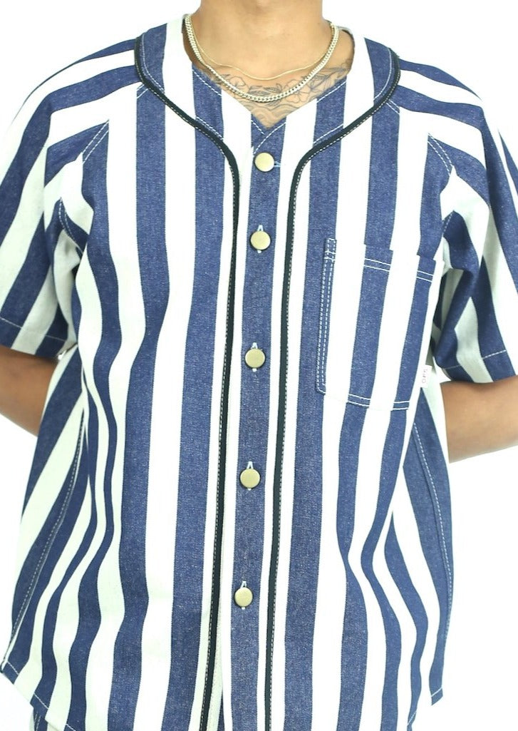 Home Run Button Down Striped Denim